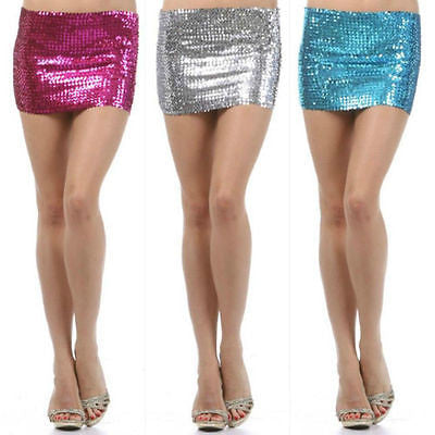 Skirt Sequin One Size Fits Most Sparkling Metallic Mini Party Club Stretch Sexy