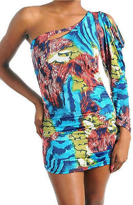 Dress S M L Mini One Shoulder Keyhole Abstract Animal Printed Stretch Club Sexy