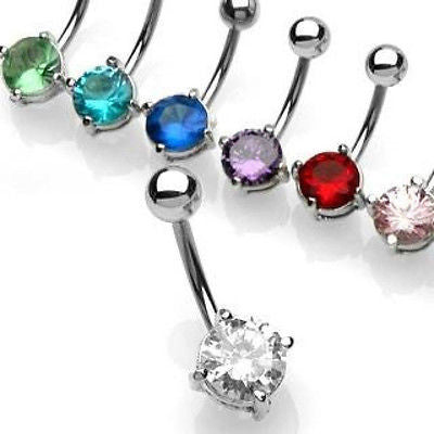 Prong Set 7 MM CZ Round Solitaire Belly Naval Ring Surgical Stainless Steel New