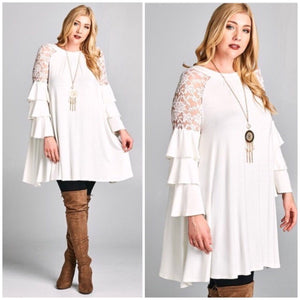 Pre-Order Plus Dress Ivory Lace Tiered Bell Long Sleeve 1X 2X 3X Casual Cocktail Dress