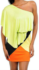 Dress Sexy Casual Club Lime Green One Shoulder Draped Color Block Mini