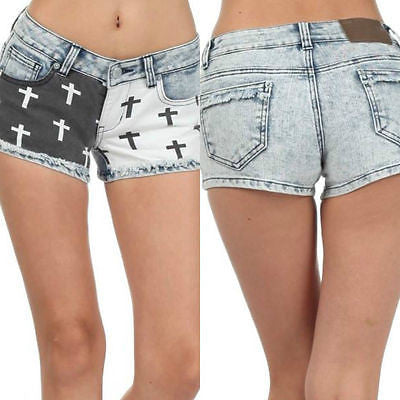 Shorts Mini Denim S M L Crosses Black White Punk Faded Printed Stretch New