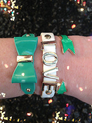 Bracelet Arm Candy Stack Love Bow Arrow Green White Stretch Cuff Wrap Set New