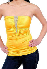 S M L Strapless Tube Top Rhinestone Sparkling Satin Solid Shirred Stretch Club