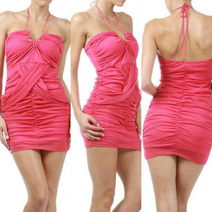 fd29734dab61 S M L Dress Halter Fuchsia Solid Mini Mesh Criss Cross Club New Party –  Jersey Glam