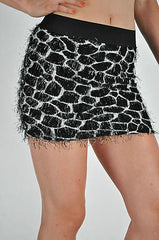 Skirt Mini Giraffe Fur Look Black Wild Animal Elastic Waist Micro S M L Sexy