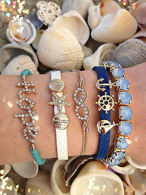 Bracelet Arm Candy Stack Blue Shades Nautical Beach Hope Shell Infinity Shore
