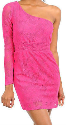 Mini Dress S M L Sexy Casual Pink Lace One Shoulder Long Sleeve Floral Crochet