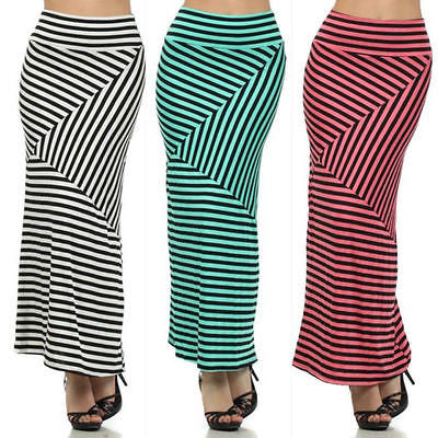 Maxi Skirt Striped S M L Banded Foldover High Waist Soft Stretch Full Length New