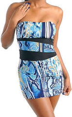 Dress Mini Sexy S M L Stretch Strapless Blue Animal Snake Printed Club New