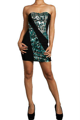S M L Sexy Cocktail Club Sparkling Turquoise Sequin Disc Strapless Mini Dress