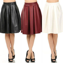 Skirt Faux Leather Circle Pleated New Women Sexy High Waist Knee Length S M L