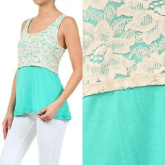 Tank Top S M L Mint Lace Gold Shimmer Scoop Neckline Spring Summer Shirt New