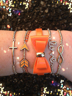Bracelet Arm Candy Stack Love Infinity Bow Orange Arrow Beaded Wrap Set New
