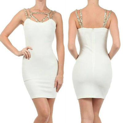 Dress S M L Sexy Bodycon Gold Sequin Straps Cocktail New Ivory Party Womens