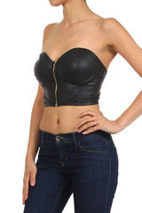 Faux Leather Crop Bustier S M L Strapless Zipper Club Sexy Sweetheart New