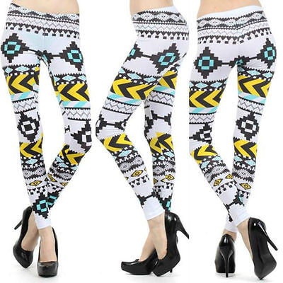 Leggings S M L Aztec Tribal Yellow Mint Bright Stretch Full Length New Pants