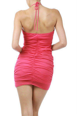 53682a9fb60b ... S M L Dress Halter Fuchsia Solid Mini Mesh Criss Cross Club New Party  Sexy ...