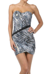 Dress Club Animal Metallic Blue Gold Shimmer Strapless Tube Stretch Sweetheart