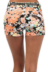 Shorts S M L Floral Studded Belt Stretch Twill Spring Summer Casual Fashion