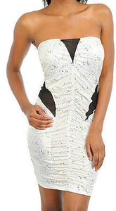 Dress Strapless Sequin Gold Ivory See Thru Mesh Sexy Club Foil Metallic Tube New