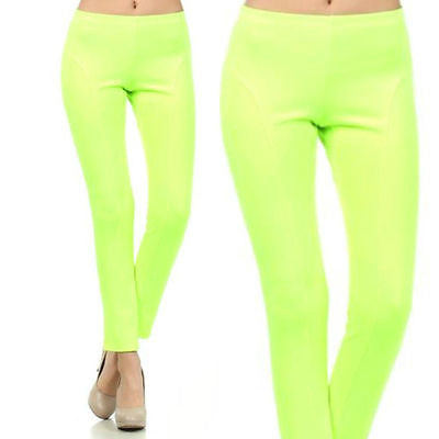 S M L Leggings Pants Thick Scuba Neon Lime Stretch Full Length Pull On New Sexy