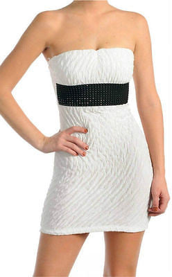 Dress Club Sexy White S M L Mini Stretch Crinkle Texture Sparkle Belt New