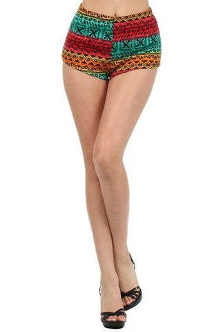 Colorful High Waist Shorts Mini Hot Aztec Tribal Bright Multi Color Club