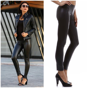 787d212df59176 Black Matte Vegan Faux Leather Leggings Stretch Pants S M L – Jersey Glam