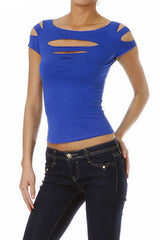 S M L Short Sleeve Top Solid Slashed Laser Cut Keyhole Stretchy Tight Club New