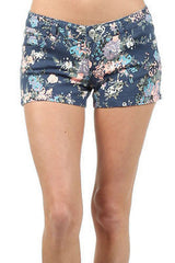 Shorts Floral Gray or Navy Denim Stretch Twill Summer Girly New Juniors Trend