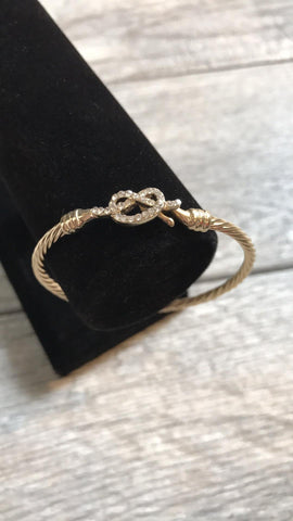 Gold Crystal Infinity Heart Cable Bangle Bracelet Sparkling Fashion Jewelry