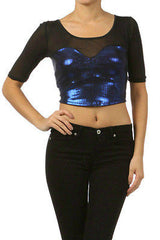 New S M L Metallic Cropped Top Shiny Blue Mesh 3/4 Sleeve Sexy Club Stretch