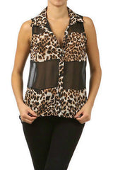 Size S M Top Chiffon Leopard Sheer Sleeveless Black High Low Hem New Sexy