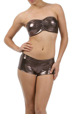 Sexy Bandeau Strapless Tube Booty Shorts Set Club Brown Liquid Metallic 2 pc Clu