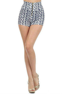Shorts Aztec Tribal S M L High Waist Zipper Stretch Mini Casual Printed New