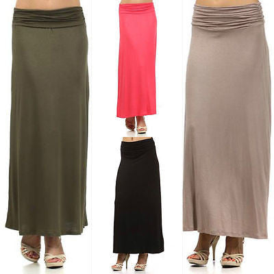 Skirt Maxi S M L Full Length Long Solid Soft Stretch Ruched Waist New Fashion