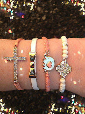 Bracelet Arm Candy Stack Peach Love Elephant Cross Bow Beaded Wrap Set New