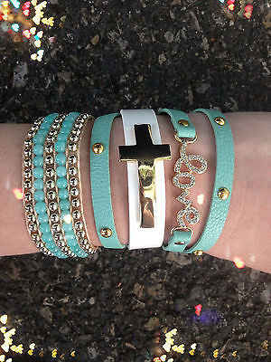 Bracelet Arm Candy Stack Mint White Cross Leather Wrap Beaded Love Rhinestone