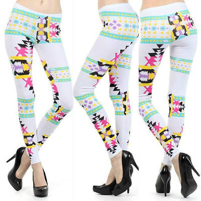 Leggings S M L Neon Aztec Tribal Multi Color Bright Stretch Full Length New
