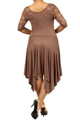 Plus Dress Lace Sweetheart Sexy Solid 3/4 Sleeve Asymmetrical 1X 2X 3X Mocha New