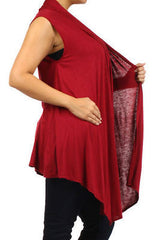 Plus Size Vest Women Open Front Cardigan New Wrap Sleeveless 1X 2X 3X Burgundy