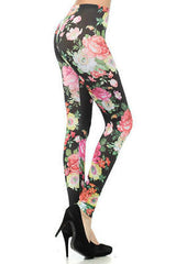 Leggings Pants S M L Floral Colorful Spring Summer Stretch Full Long Length New