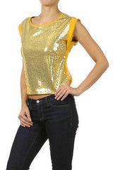 S M L Sequin Gold Top Chiffon Trim See Thru Back Tie Cap Sleeve Club Blouse New