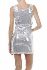 Dress S M L Cocktail Mini Club Gold Sequin Sheath Sparkling Scoop Neck Party New