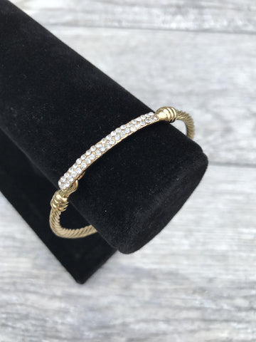 Gold Crystal Sparkling Bar Cable Bangle Fashion Bracelet