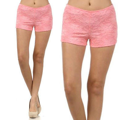 S M L Shorts Mini Lace Floral Pink Stretch Summer Spring Fully Lined New Fashion