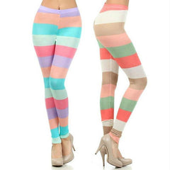 S M L Leggings Stripe Colorblock High Waist Soft Stretch Skinny Pants Spring New
