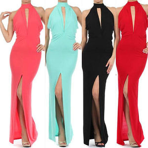 New S M L Maxi Dress Gown Women Black Halter Keyhole Thigh Slit Full Length Sexy