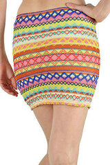 Skirt Mini S M L Ikat Colorful Pastel Zig Zag Embroidered Woven Summer Stretch